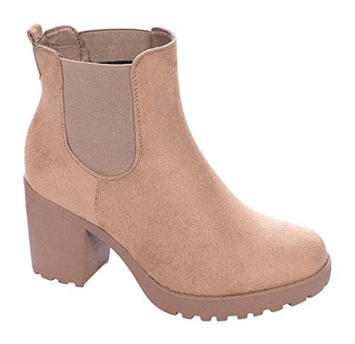 Damen Stiefeletten Ankle Boots Plateau Stiefel Schuhe B2 Camel 2