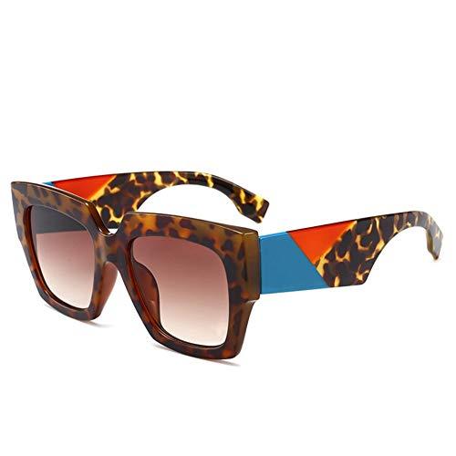 BFQCBFSG Damen Sonnenbrille Box Persönlichkeit Monster Sonnenbrille Urlaub Spielen Dicke Linien Beine Retro Big Frame Brille Mode Herrenbrille, F