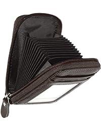 Storite Imported RFID Blocking 10 Slot Vertical Leather Credit/Debit Zipper Card Holder Wallet