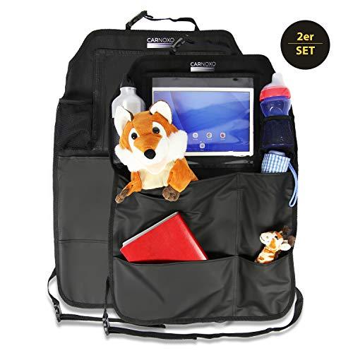 CARNOXO Premium Rückenlehnenschutz Auto Kinder (2 Stück), Größe: 45,5 x 63 Zentimeter, Farbe: Schwarz, Autositzschoner und Organizer Rückenlehne -