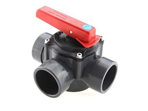 3-Scheiben PVC Zylinderhahn Anschluss D50/d63, 3-Wege-PVC Kugelhahn -