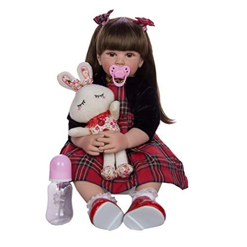 TINGSHOP 60Cm Reborn Babypuppe, Handgemachte Neugeborene Gewichtete Weiche Babypuppen, Vinyl Gewichtete Puppe Mit Spielzeug Langes Haar Mädchen Prinzessin Kleidung Geschenke Für Kinder Ab 3 Jahren