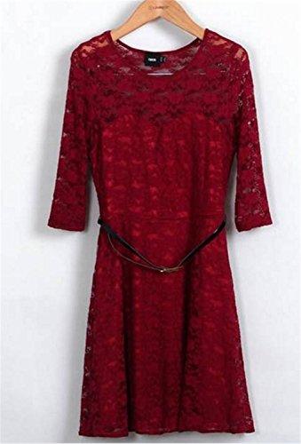 SHUNLIU Rahmen Ausschnitt Minikleid 3/4 longues Elegant Cocktailparty Kleid Abend-Kleid Dress Mit Gürtel Weinrot