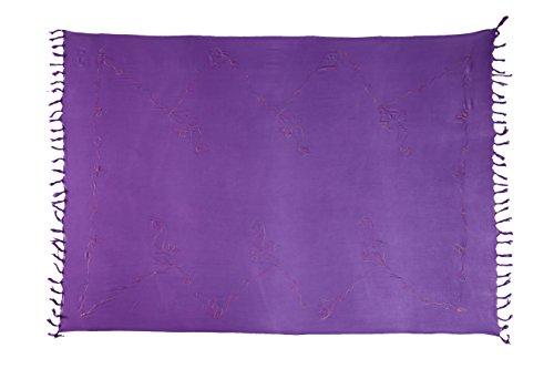 Sarong Pareo Pareo telo mare asciugamano Dhoti circa 170cm x 110cm, con ricami a mano molti modelli Stickerei Lila