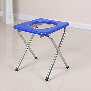 Klappbarer Toilettenhocker Sitz mit Kommode älterer Toilettenstuhl Tragbarer Closesool Nachttisch Kommode für Senioren für Behinderte Toilettenstuhl Medical Toilet Chair Silbernes blaues Kissen