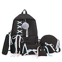 ZHAOSHOP backpack Girl School Bag for Teenage Solid Backpack College Wind Schoolbag Women High Student Bag Black Lace Bow Bundle Backpack