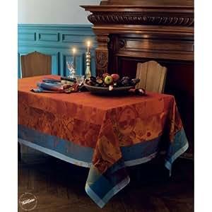 """Nappe antitache GARNIER THIEBAUT """"ABONDANCE"""" Cuivre - Les 4 serviettes de table"""