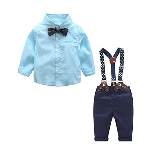 ARAUS Baby Jungen Bekleidung Set Hemd Hose mit Hosenträger Langarm Karierte Hemd mit Fliege Latzhosen - Verstellbare Taille Smoking Hosen