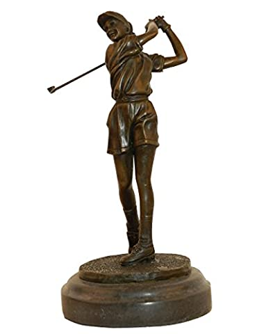 Toperkin Statue Signed Milo Female Golfer Tournament Pga Golf Golfing Trophy Bronze Sculpture Nr (Golfer Bronze Garten-statue)