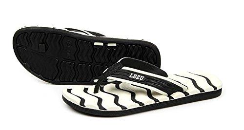 KISS GOLD (TM) Hommes Sandales Caoutchouc Pantoufles Flip-Flop Chaussures de Plage Modèle C-Noir