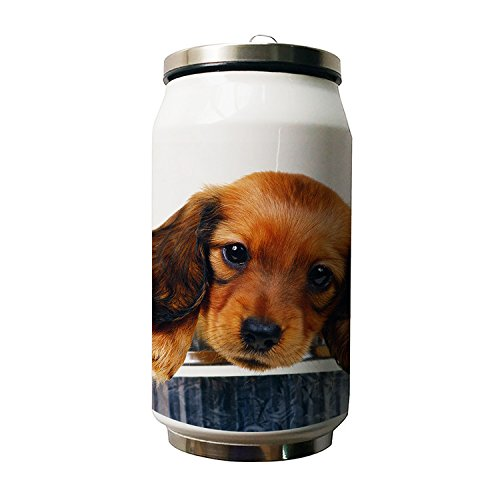 okoukiu Cute cane animale Design doppio isolamento a vuoto in acciaio inox bottiglia d' acqua, 500ml