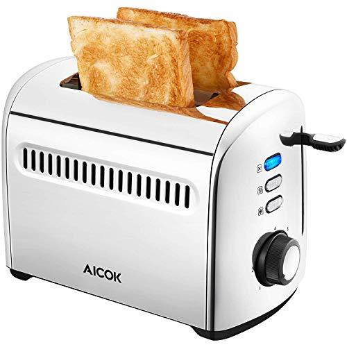 AICOK Tostador, tostadora 2 rebanadas de Acero Inoxidable con 7 Niveles de Tostado, Tostador con Función Descongelación y Recalentar, 1000W, Plata