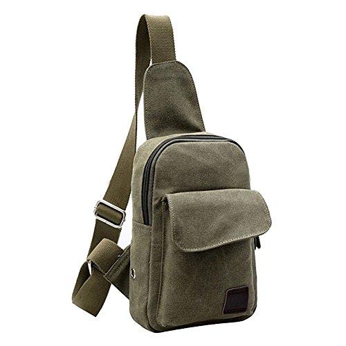 SODIAL(R) Tracolla casuale dellannata delle piccole tela di canapa degli uomini che escono il sacchetto del messaggero del sacchetto della bicicletta di Crossbody del sacchetto-caffe Army Green