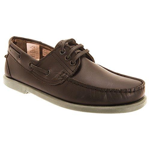 Dek Herren Leder Bootsschuhe im Mokassin Design Braun