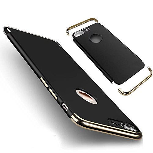 Vandot Apple iphone 7 Étui Exclusif Design Coque détachable Air Plastique Dure de PC Retour Bumper Case Cover Ultra Slim Thin 0,9 mm Matte Building Pratiques de Protection Haut de Gamme Pattern Housse Scission-Noir