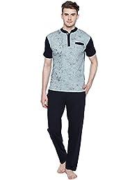 Valentine Night Suit For Men - Aqua Blue And Black Printed Night Wear - Stylish Tshirt And Pyjama Set For Men...