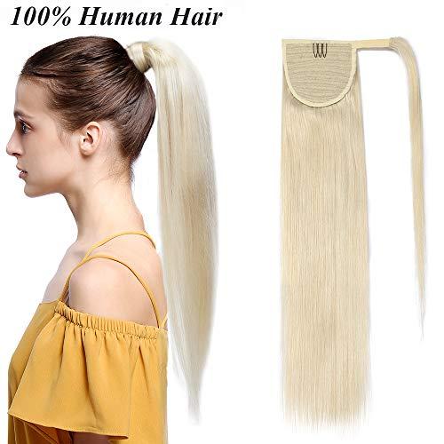 Extension coda capelli veri clip biondi code di cavallo fascia unica ponytail extensions 100% remy human hair lisci umani naturali 90g (50cm #60 biondo platino)