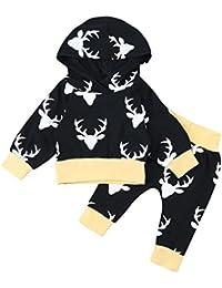 Koly 2 piezas Otoño Invierno Niñito Infantil Bebé Chico Niña Conjunto de ropa Cuerno Capucha Tops y Conjuntos de pantalones