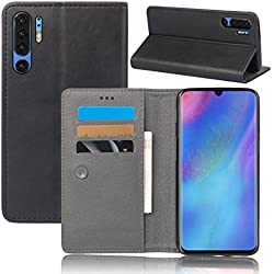 Flip Wallet Case Compatible with Huawei P30 Lite Design Shock Protection with Card Slots Lightweight Durable Protective Case and Adjustable Stand Black