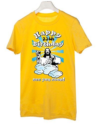 Tshirt Compleanno Happy 23th birthday see you soon - Buon 23esimo compleanno ci vediamo presto - jesus - humor - idea regalo - in cotone Giallo