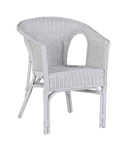 MiaMöbel Armlehnstuhl 57x76x56 cm Landhausstil Rattan Weiß