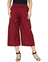 100% Cotton Maroon Culottes Women Pants - Culottes Pants For Women & Girls - Solid Colour Culottes For Ladies...
