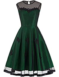 Belle Poque Femme Robe de Soirée Audrey Hepburn Rétro 1950 avec Tulle Noir BP112