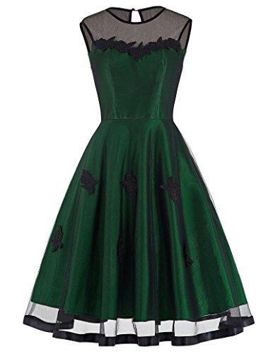 Yafex Damen Vintage Retro 1950er Kleid Festliche Kleid Hepburn Stil ZYB00112 Grün