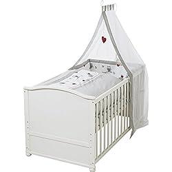 """Juego de cuna completa roba, diseño""""Adam & the Owl"""", cuna lacada en blanco, incluye funda de nordico, protector de cuna, dosel y colchón, cuna de 70x140cm transformable en cama infantil."""