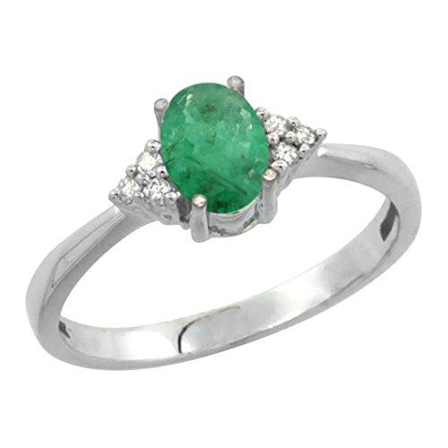 Revoni 14ct White Gold Natural Emerald Ring Oval 7x5mm Diamond Accent