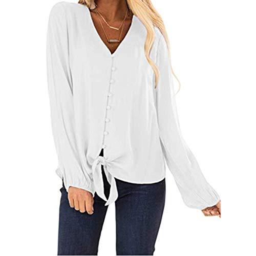 T-Shirt für Frauen,TEFIIR Womens Bluse Button V-Ausschnitt Rüschen Cap Mitgliedertag Sommer-Räumungsabwicklung,günstige Preisaktion Sleeve Tie Knot Button Freizeithemd Geeignet für Freizeit und Urlaub -