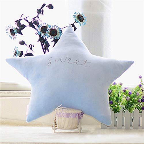 wewwe232783ajshgq Fashion Kreatives Sternchen Mond Form Candy Color Princess Baumwolle Nackenschutz Kissen Sofa Kissen Home Decor für Home Decor Light Blue Star 50cm (Home Decor Light Blue)