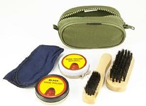 Travel Size Shoe Care Boot Polishing Polish Cleaning Kit Set Brushes Cadet Olive