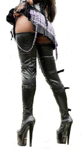 EROGANCE Plateau, tacco alto, in pelle finte, sopra il ginocchio fino al cavallo, stiavli da donna EU 36-43 Nero