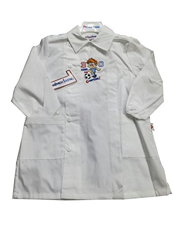 Primo della classe grembiule asilo bambino bianco scuola materna per maschietto (art. 7p601) (60-5 anni)