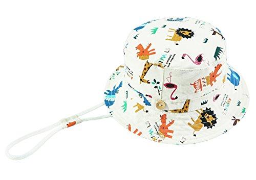 Foruhoo Baby Sonnenhut Kinder Hut, Sommerhut Mütze for Jungen Mädchen mit Verstellbar Kordelzug (50cm / 12-24 Monate,Zoo weiß)