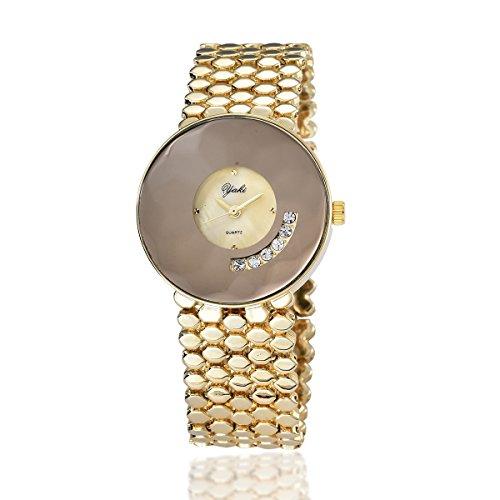 Yaki Luxus Damenuhren Goldene Damenarmbanduhren Strass Analog Quarz Uhren Design Breit Metallband