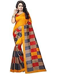 Kanchan Textiles Woimen's Art Silk Cotton Blend Saree With Blouse Piece (KSH_ ORANGE CHECKS, Multicolour, Free...