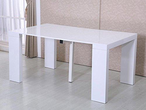 Habitat et Jardin - Table Repas Extensible Dina - 160/40 x 94 x 75 cm - Blanc laqué