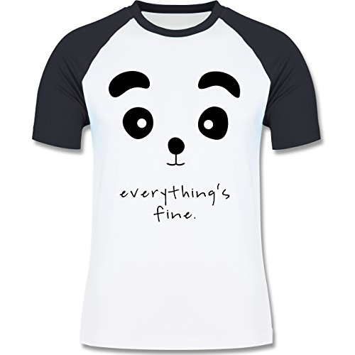Shirtracer Eulen, Füchse & Co. - Panda Everything's Fine - Herren Baseball Shirt Weiß/Navy Blau