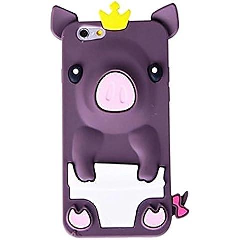 NightKid custodia Maiale carino principessa con una corona di silicone morbido (iPhone 4/4S iPhone 6S iPhone 6 iPhone 5C iPhone 5/5S )(iPhone 6/4.7,Viola)