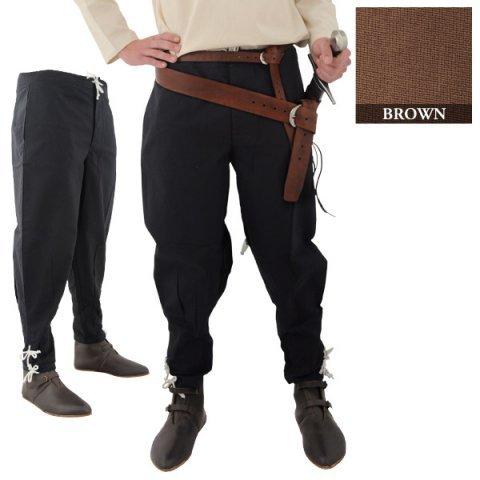 Mittelalterliche Formelle Kleidung - SAY Mittelalter Baumwollhose mit Knöchelschnürung/Farbe: naturbraun/Syndicate
