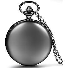 Jewelrywe Reloj de bolsillo Negro Pulido de Cazador, Cadena larga de 81cm, Estilo sencillo elegante, Unisex