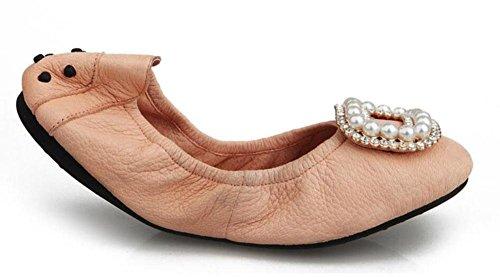 SHINIK Frauen falten bis Ballett Pumps Leder Rundhals flachen Mund flachen Fahren Schuhe Pink
