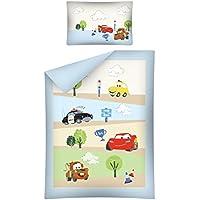 Biancheria da letto per bambini Cars Blu 100x 135cm + 40x 60cm copripiumino 100% cotone, Baby letto con biancheria da letto 2pezzi set