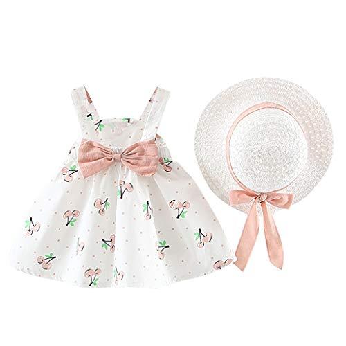 Pwtchenty Kleidung Set Kleid Damen Sommer Elegant Baby Neugeborene Mädchen Kurzarm Kirsche Dot Bogen Prinzessin Dress+Hut Outfits Set