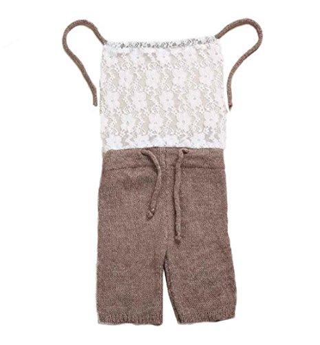 (Tonsee Baby Mädchen Einteilige Spitze Kostüm Foto Fotografie Prop Outfits Klettern Kleidung (Kaffee))