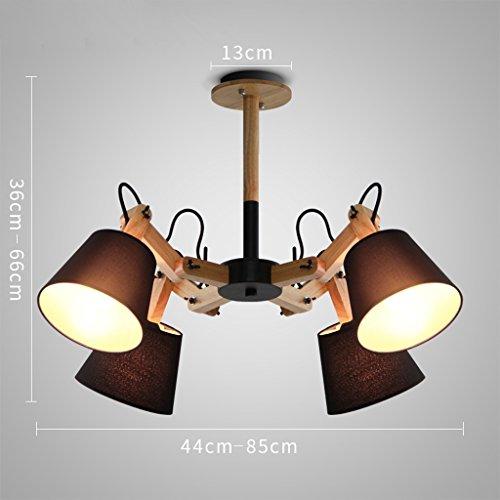 Schwarz Vier-licht Kronleuchter (Kronleuchter Licht Shades Decke Kristalle - 4 Head Cafe Restaurant Mechanische Arm Kronleuchter (Farbe : Schwarz))
