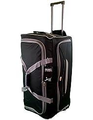 Grande taille Sac de voyage 90L de Voyage valises souples. Noir avec garniture gris. Bagagerie