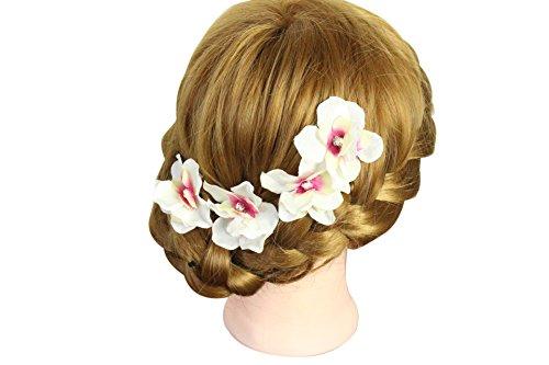 Lemandy set de 4 épingles à cheveux fleurs artificielles cristaux TH001 Ivoire/Fuchsia